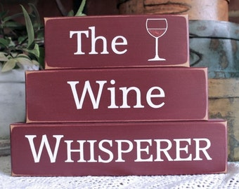Wine Whisperer Shelf Sitter Blocks Sign Wine Lover Goddess Kitchen Decor Stacking Blocks