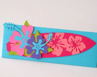 Set of 10 Mini Hibiscus Flower and Surfboard Beach Triangle Box Destination Wedding / Party Favor Boxes