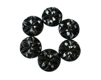 6 Vintage wooden flowers buttons black 27mm, can be use as beads