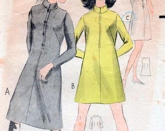 Vintage 1970s Maxi Mini Dress Sewing Pattern 32.5 inch bust