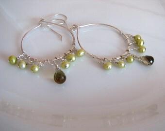 Sterling Hoops Sterling Chandeliers Artisan Hoops Chartreuse Pearl Hoops Wire Wrapped Earrings