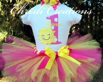 You Are My Sunshine Birthday Outfit - Baby Girl Tutu - 1st Birthday Outfit for Girl