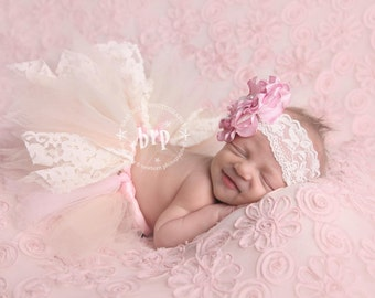 Lace Newborn Baby Tutu Set in Pink and Cream