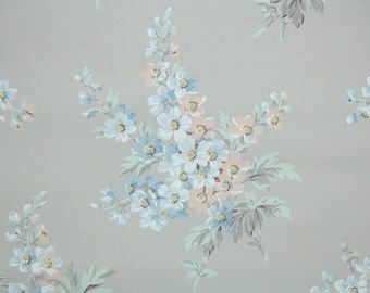 1930's Vintage Wallpaper - Peach and Blue Floral Bouquets on Gray