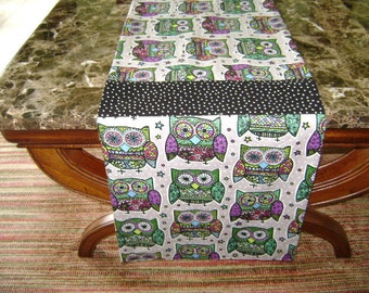 Owls Table Runner Grey With Owls In Greens And Black Fabric