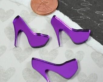 Purple Mirror Mini Heel Cabochons - 3 Pieces - Laser Cut Acrylic