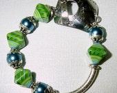 I Love Lime Lampwork and Pearls Bangle Bracelet