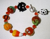 Mystery on Halloween Street Lampwork Bracelet - Halloween