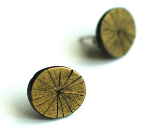 Metallic, textured, Brass Tacks post earrings
