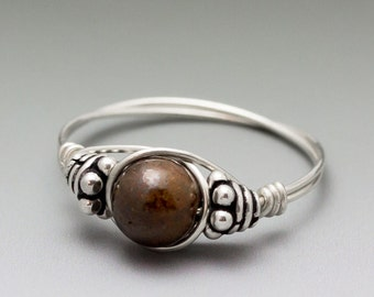 Boulder Opal Bali Sterling Silver Wire Wrapped Bead Ring - Made to Order, Ships Fast!