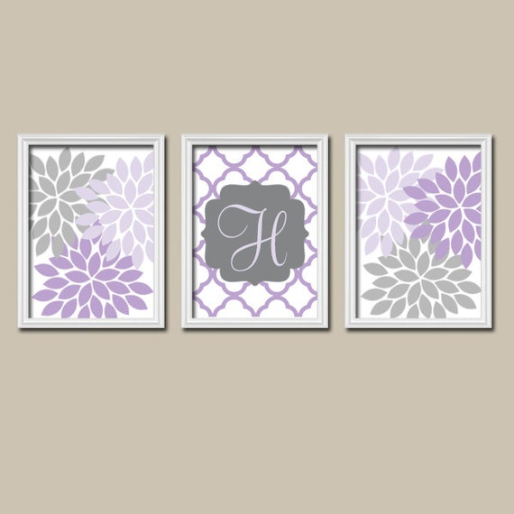 purple lilac gray nursery wall art canvas or prints custom monogram flower letter initial set. Black Bedroom Furniture Sets. Home Design Ideas