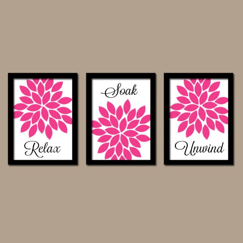 hot pink black bathroom wall art canvas or prints bathroom