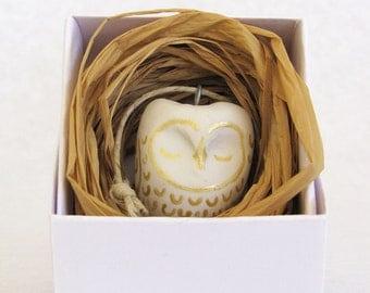 Golden Owl Ornament - handmade - polymer clay figurine