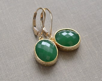 Palace Green Earrings, Framed Glass, Green Glass Stone, Gold Fill Lever Back, Oval Pendant, Bridesmaid Earrings, Bridal Jewelry