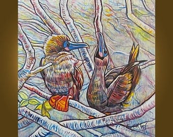 SALE -- Red Footed Boobies -- SALE -- 30 x 30 inch Original Oil Painting by Elizabeth Graf on Etsy -- Art Painting, Art & Collectibles