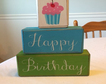 Three piece happy birthday blocks custom sign blocks primitive rustic country cupcake centerpiece party decor unique gift personalized