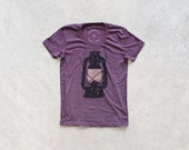 SALE - Night Scouting - women t shirt | tshirt women - kerosene lamp on heather plum - camping shirt by Blackbird Tees