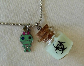 Zombie Guts Biohazard Glow In The Dark Necklace