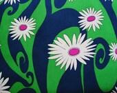 Vintage Fabric Mod Daisy Swirl 1960s 70s Navy Green Flower Power Barkcloth