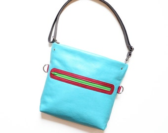 Convertible Bag / Leather Crossbody Purse / Crossbody Bag / Shoulder Bag / Leather Bag - The Abby Satchel in Light Turquoise