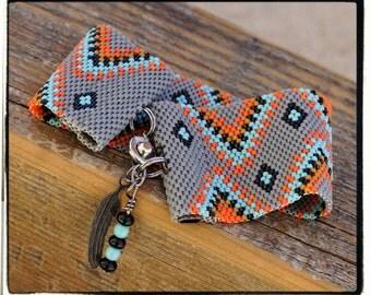 Native American Tribal peyote beaded bracelet cuff beading pattern PDF personal use download