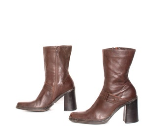 size 10 PLATFORM brown leather 80s 90s BUCKLE harness zip up boots