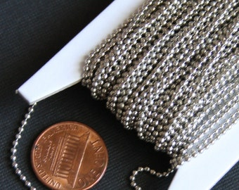 10ft of antique silver plated ball chain 1.5mm ball