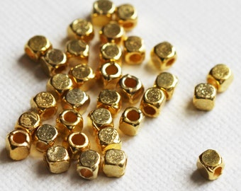 100 pcs of gold plated square cube beads 4mm