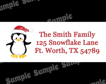30 Personalized Christmas Return Address Labels  - Penguin Design