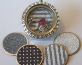 TODAY!! Buy One Get One Free! Glitter Locket Plates, fits all brands of floating locket necklaces, Available in medium and large, CHOOSE ONE