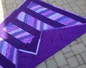 purples, handmade quilt, thin, light, chevron pattern, lap blanket, picnic blankie