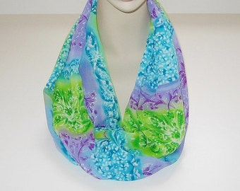 Infinity Scarf Lightweight Lavender Turquoise Green