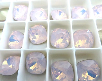 1 Rose Water Opal Foiled Swarovski Crystal Square Cushion Cut Stone 4470 12mm