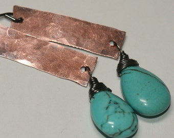 Turquoise Copper Earrings , Hammered, Mixed Metal Earrings,  Blue Earrings , Long Earrings Blackened Earrings by Maggie McMane Designs