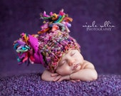 NEWBORN Photography Prop - Baby Handdyed and Handspun yarn Knit Hat - Twin Prop - PeachPoshPolkadots - PHOTO 2