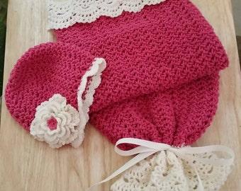 Seaside Cottage Snuggle Sack, Cocoon and Hat, Newborn size, Crochet, Baby Shower, Peanut Sack