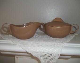 Melmac Sugar and Creamer ~ Cocoa Melmac ~ Melamine Sugar Bowl & Creamer