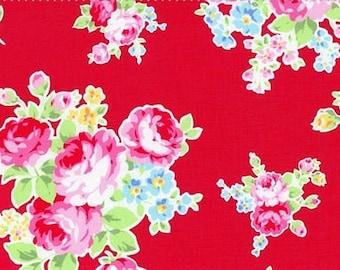 Shabby Red Rose Floral Bundle 30968 Fabric by Lecien 2014 FLOWER SUGAR 1 Yard