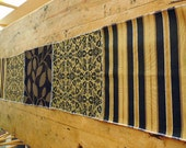 20% Sale, Coupon Code 47474.  Exquisite Table Runner Made with Four Designer Fabrics In Shades of Black And Gold