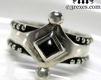 The Majestic Medieval Ring 925 Sterling Silver Black Onyx Size 8