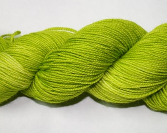 Ready to Ship - Highlighter Green Hand Dyed Sock Yarn - Sport Sock