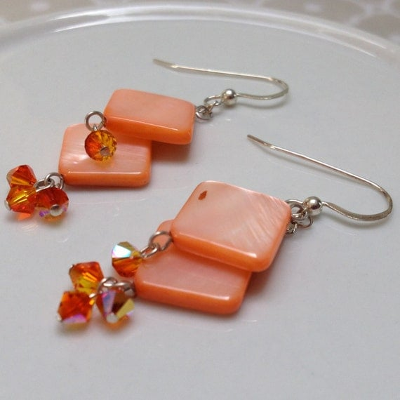 Orange Shell and Swarovski Crystal Dangle Tiered Sterling Silver Earrings