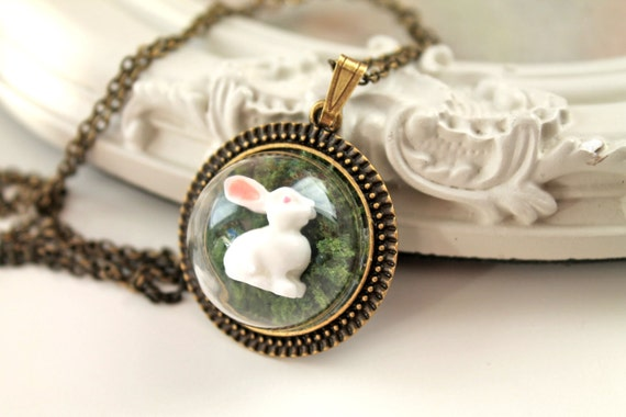 Dainty cute woodland bunny rabbit in moss Necklace