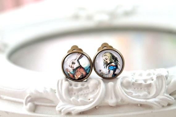 Alice in Wonderland and white rabbit clip earrings sweet lolita feminine