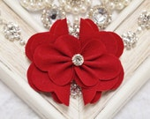 New! 2pcs Handmade Suede flowers--red (SD101)