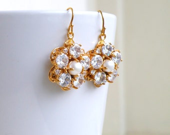 Wedding Jewelry Bridal Earrings Cubic Zirconia Pearl Gold GE4G