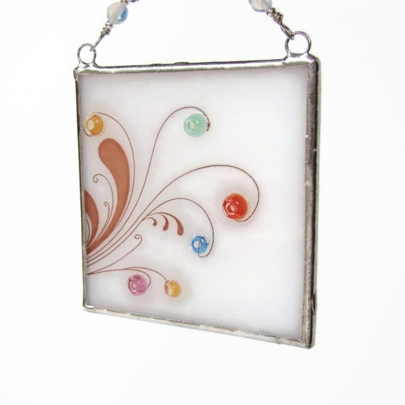 Swirl Fused Glass Light Catcher Suncatcher