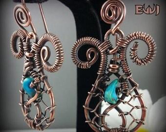 Copper Web Earrings w-Turquoise