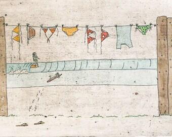 Retro beach artwork - Surfer Girls, watercolour, surf collagraph print
