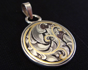 Art Nouveau Inspired Hand Engraved Sterling Silver Scroll And 24k Gold Inlay